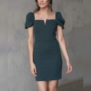 Bailey Blue   Hunter Green Puff Sleeve Mini Dress
